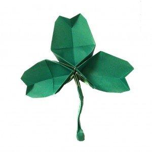 Folded paper origami shamrock