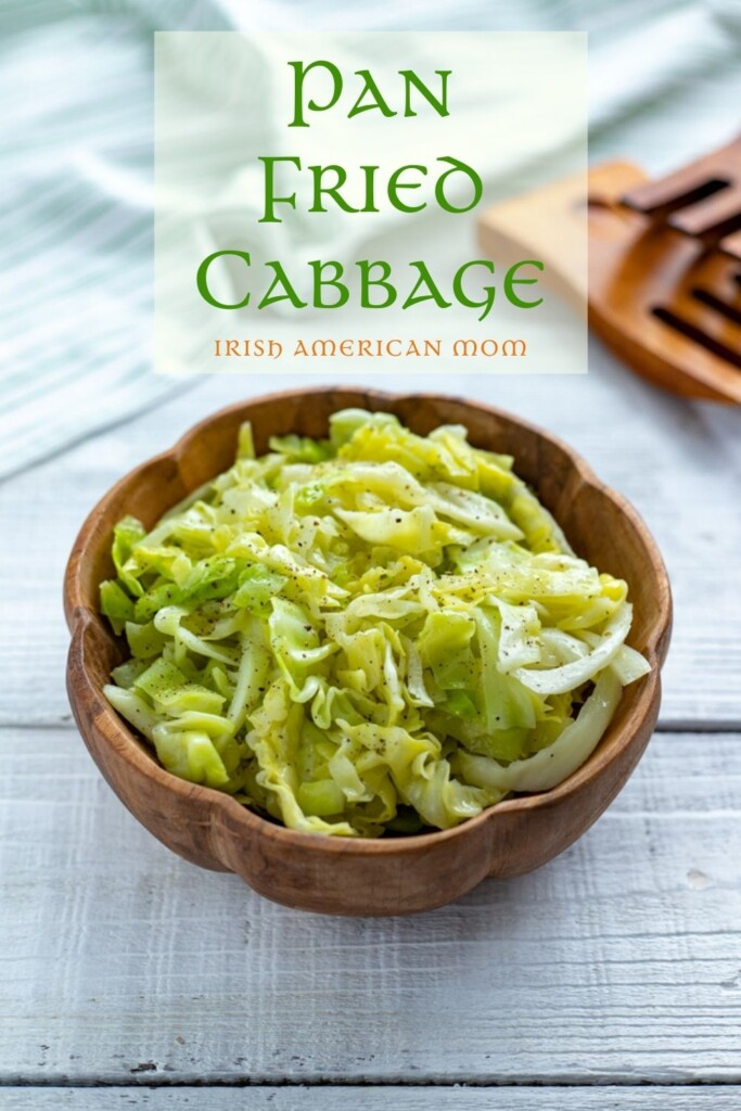 Pan fried cabbage in a wooden bowl with text overlay