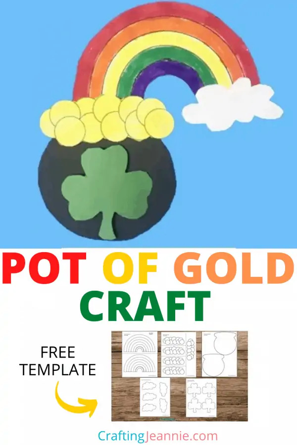 Paper rainbow and pot of gold craft with a text banner