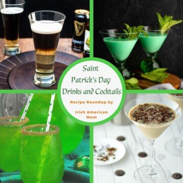 Collage of Irish green and white drinks with a central text circle