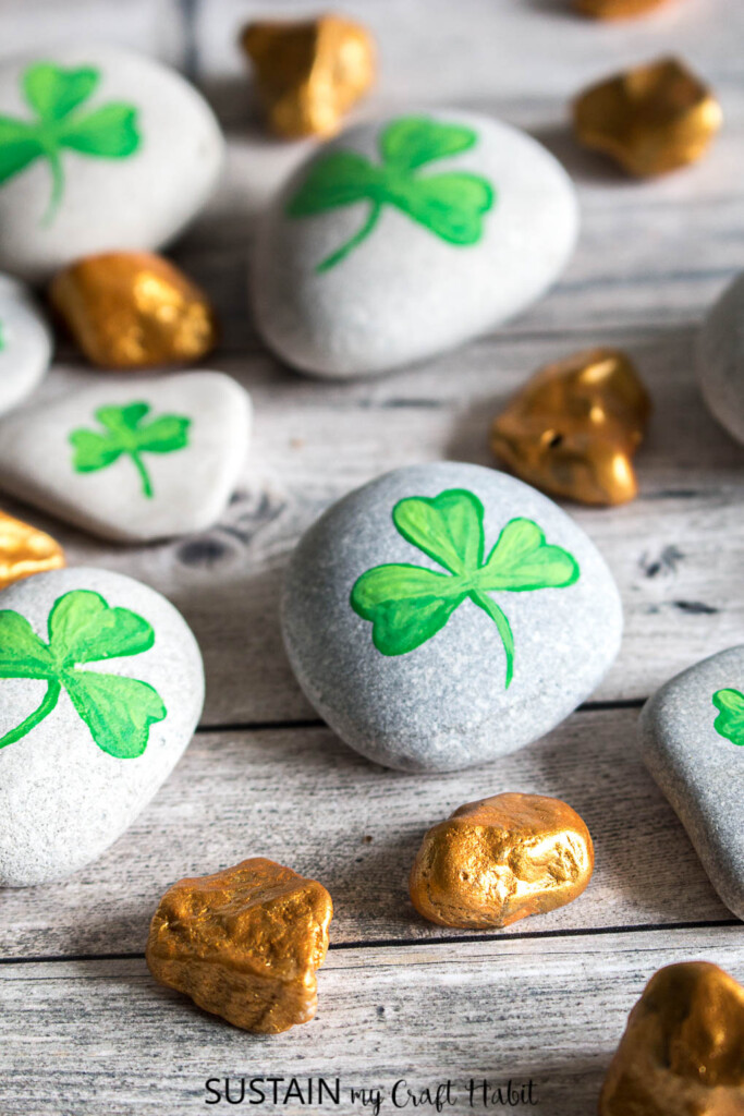 Rocks with painted shamrocks and gold nuggets