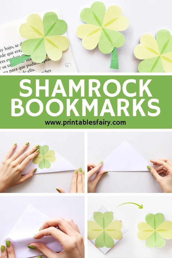 Four leafed shamrock corner book marks craft tutorial with a text banner