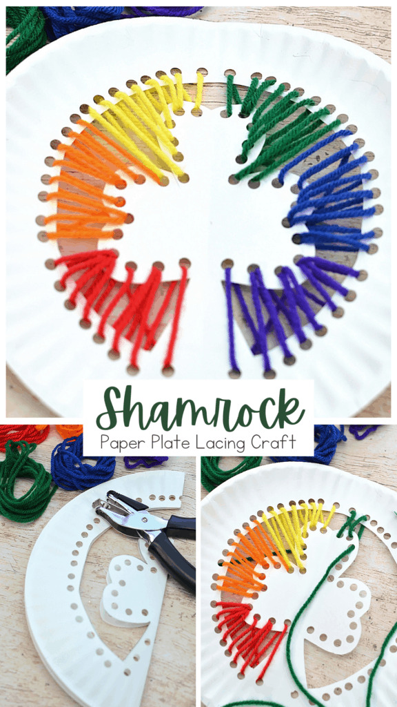 Paper plate shamrock lacing craft with a text banner