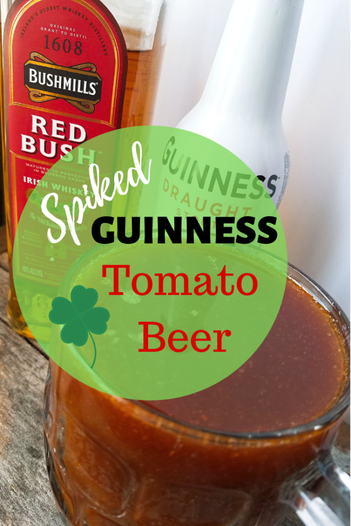 Tomato drink in a glass with a green circular text banner