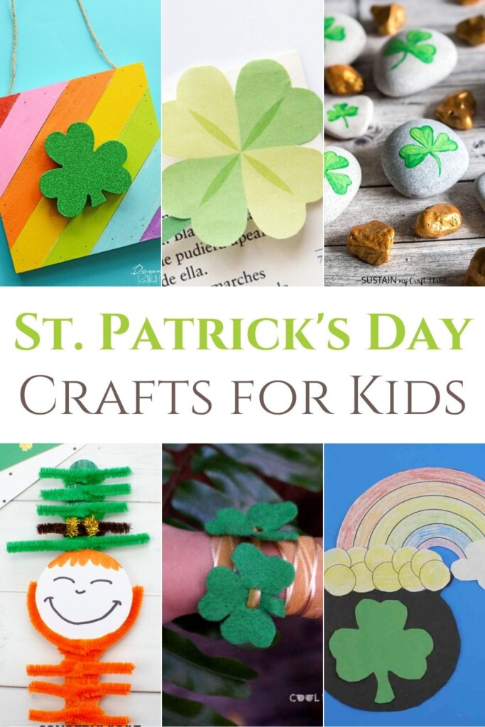 Collage of crafts for Saint Patrick's Day with a text banner