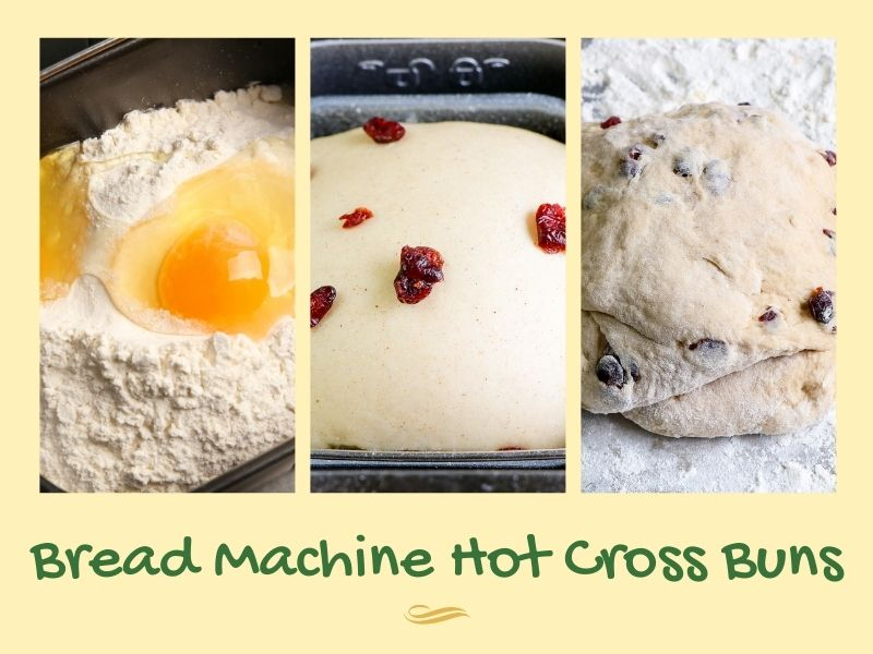 Steps for making bread machine fruited dough in a collage with text overlay