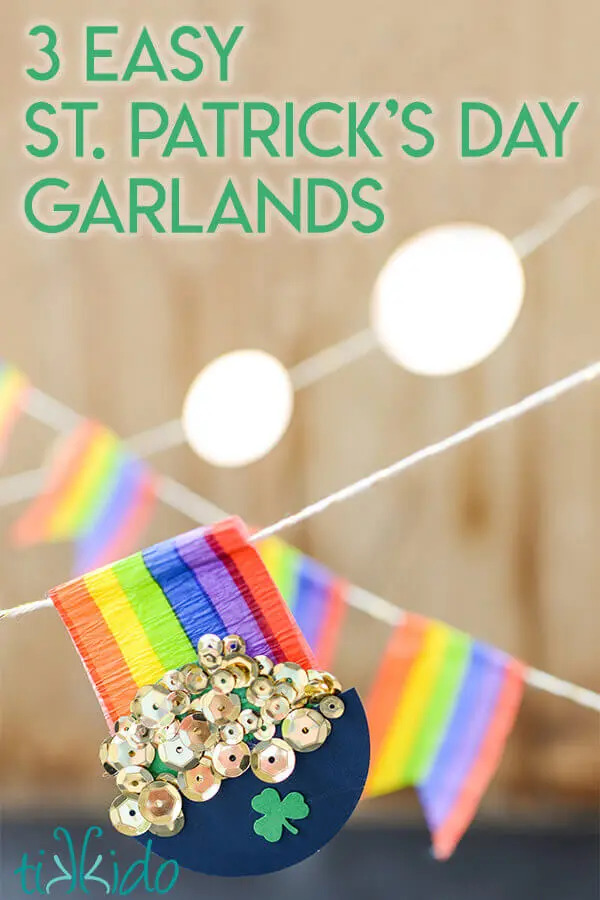 Pot of gold and rainbow garlands with a text banner