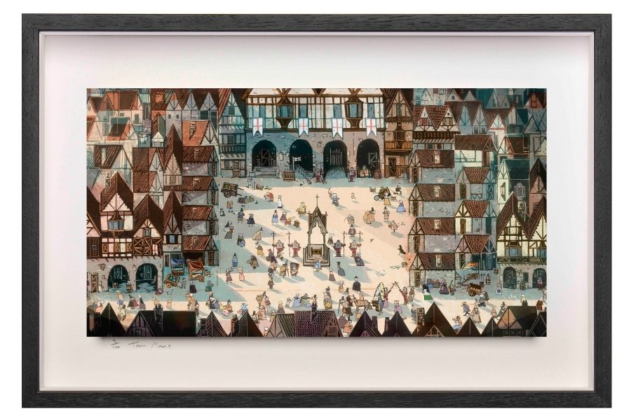 New artwork from Cartoon Saloon featuring a medieval town square