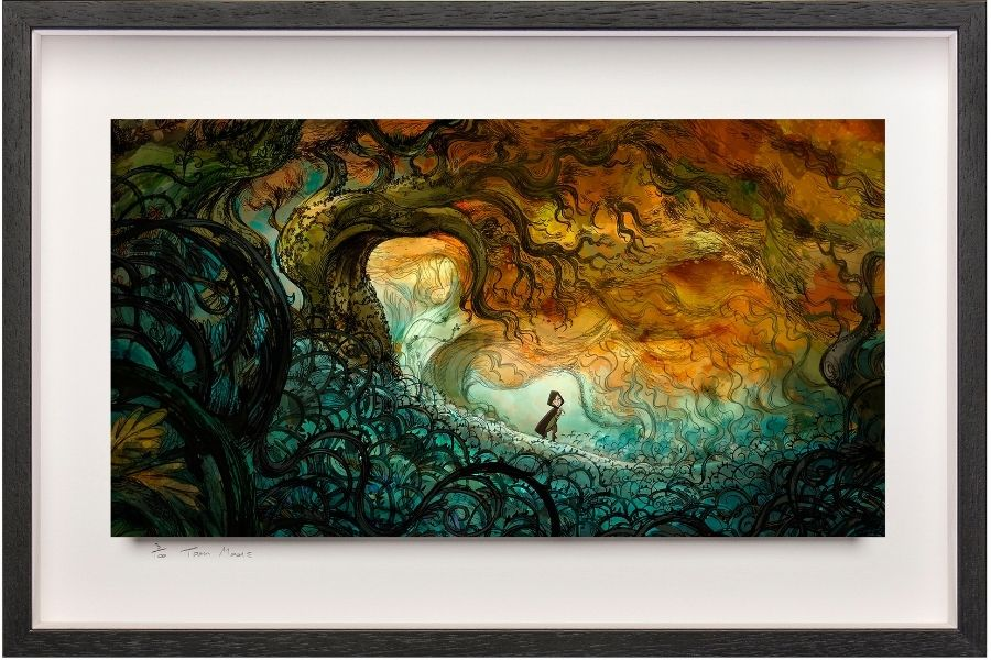 Framed art print featuring a boy in a colorful brambles from Cartoon Saloon
