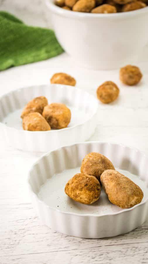Potato candies served in flat ramekins