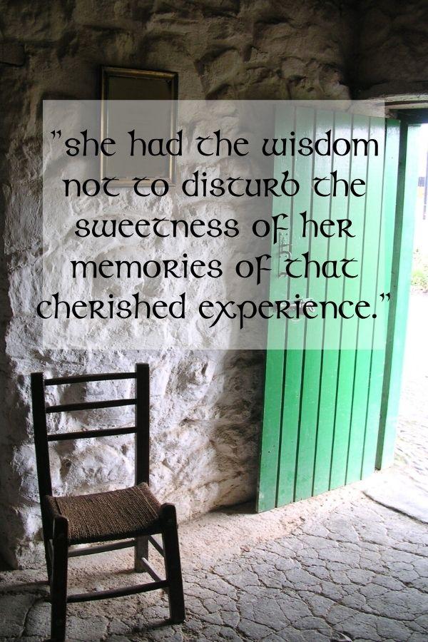 A chair beside an open green door with text overlay