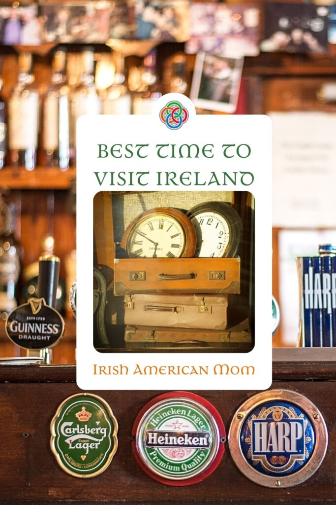Irish pub background with graphic featuring text and clocks in suitcases