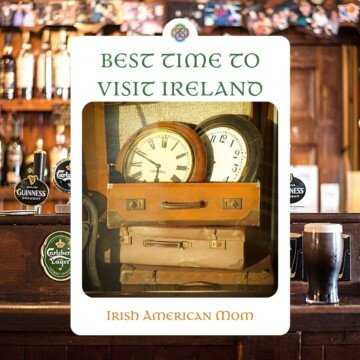 Irish pub shelves with a superimposed image of clocks in suitcases and text overlay