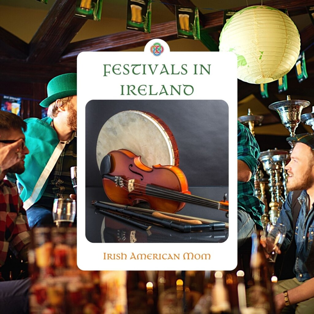 Irish pub scene with a graphic overlay of Irish instruments and text