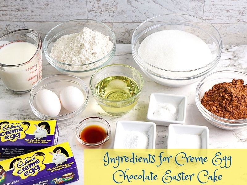 Baking ingredients in bowls with creme eggs and a text banner