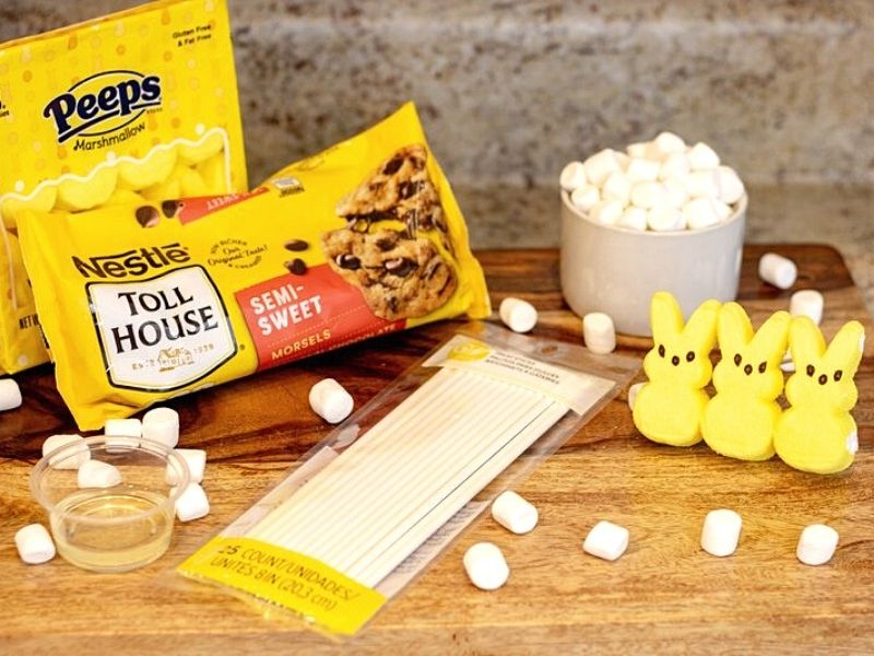 Candy sticks, chocolate chips package, marshmallow bunnies and mini marshmallows