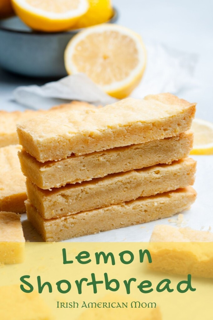 Shortbread fingers in a stack with text overlay