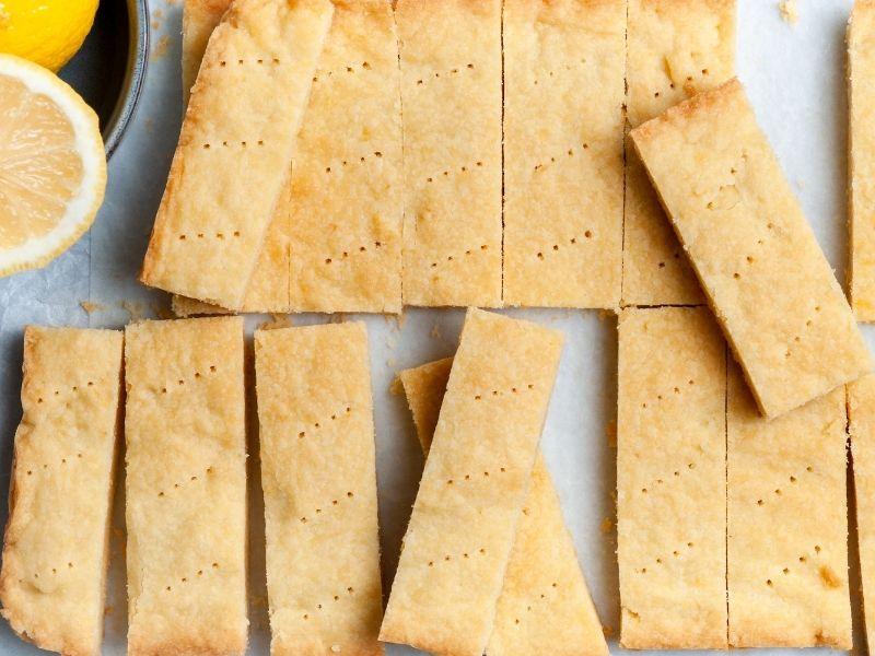 Rectangles of lemon shortbread