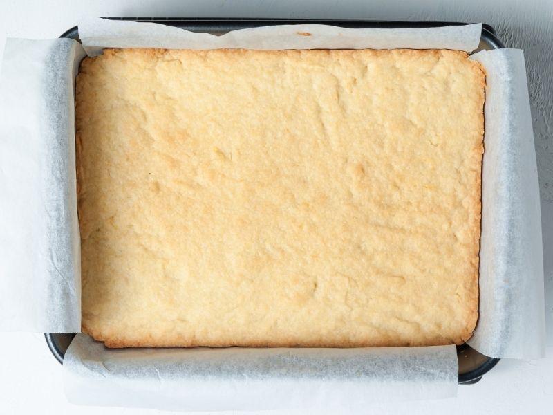 Golden brown cooked lemon shortbread