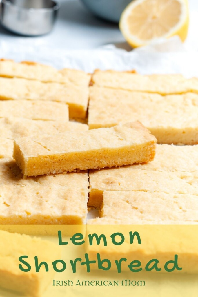 Shortbread slices with a lemon and text overlay