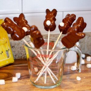 Chocolate covered bunnies drying on sticks in a pitcher
