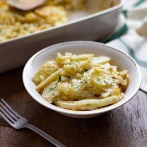 Scalloped potato casserole served in a bowl