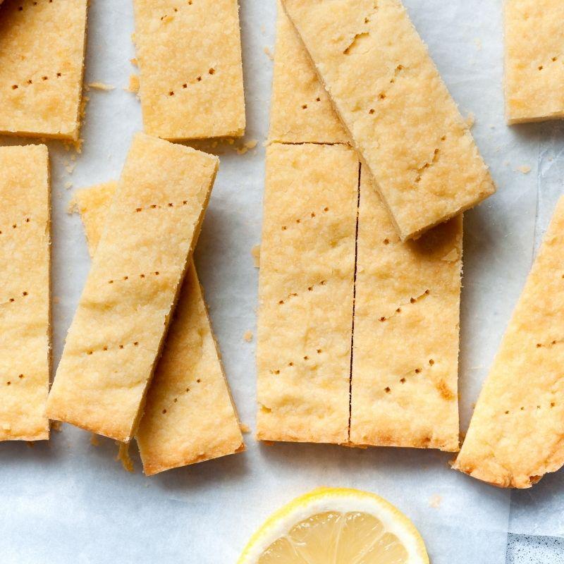 Lemon shortbread slices on parchment paper