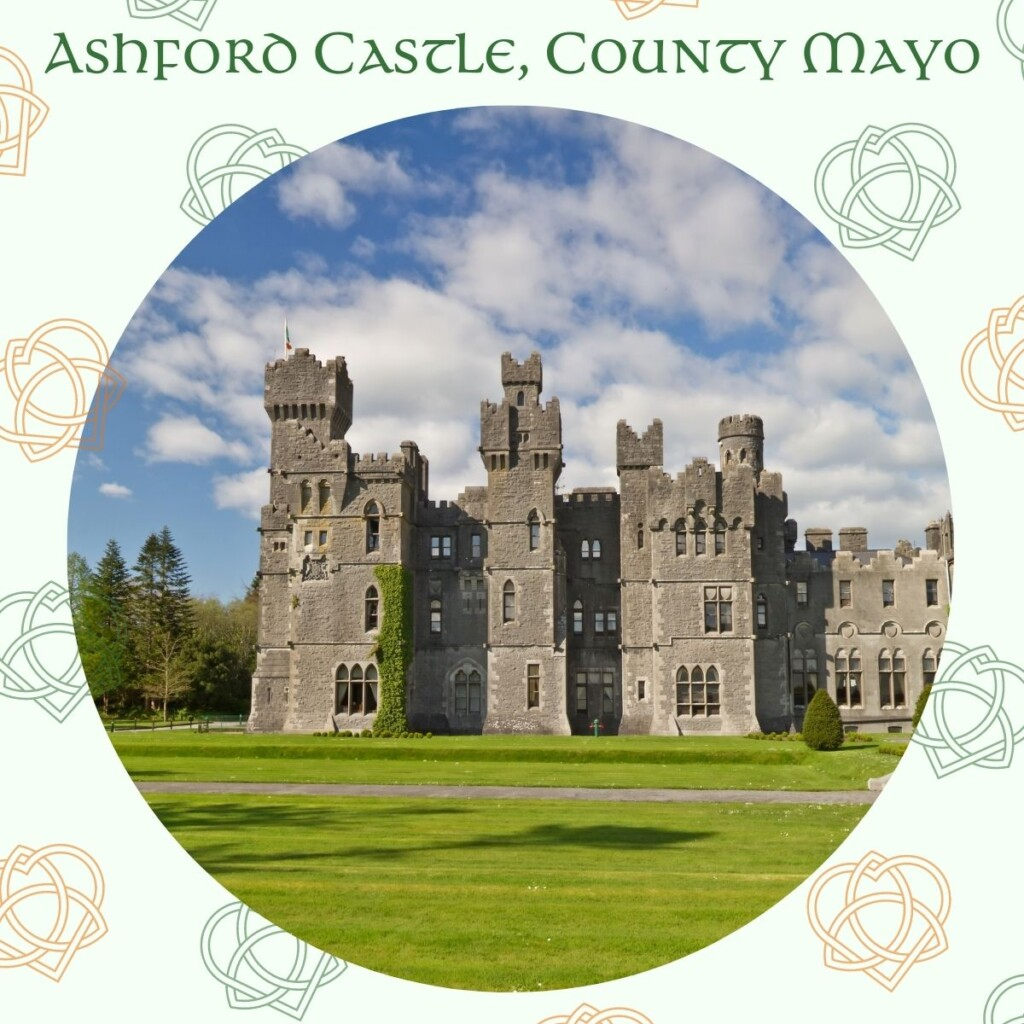 Castle surrounded by Celtic designs and text