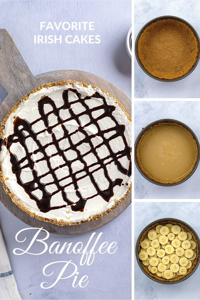 banoffee pie collage showing the layers in the cake and with text overlay