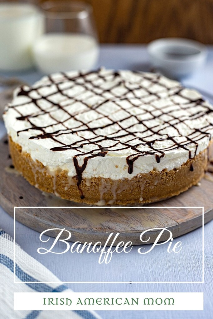 A pie with cream and chocolate topping with text overlay