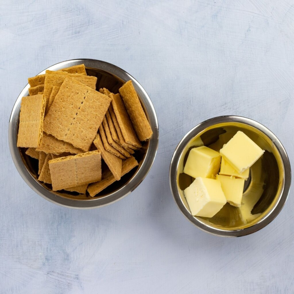 Graham crackers and butter for making banoffee pie crust