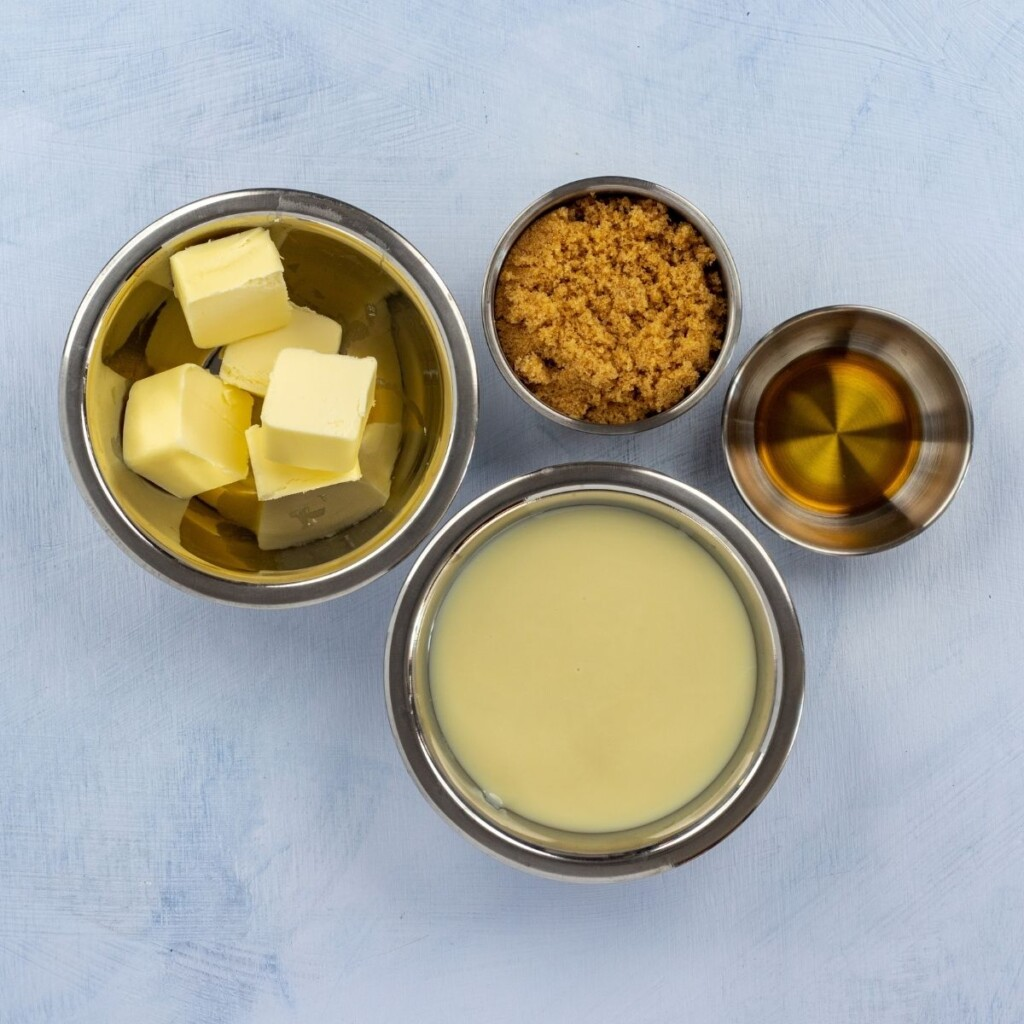 Ingredients for caramel layer in a banoffee pie