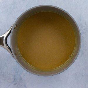Caramel sauce in a pan