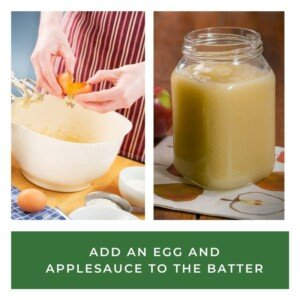 Breaking an egg into a bowl beside a jar of applesauce over a text banner