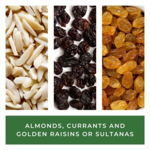 Almonds, currants and golden raisins in a graphic with text overlay