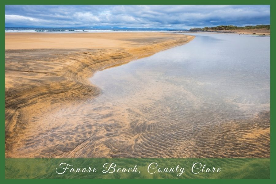 Sandy shoreline with text overlay