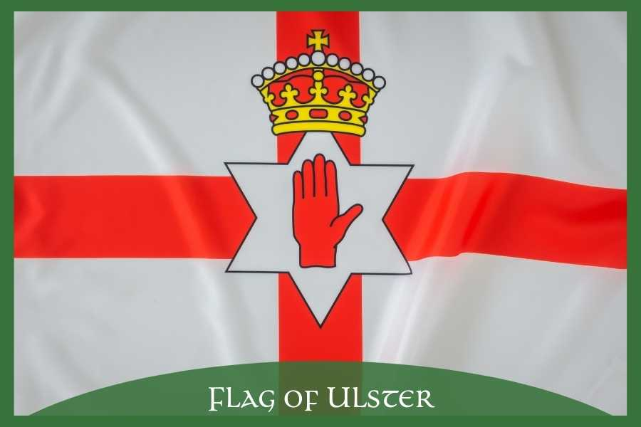 White flag with red cross, crown and hand plus text overlay