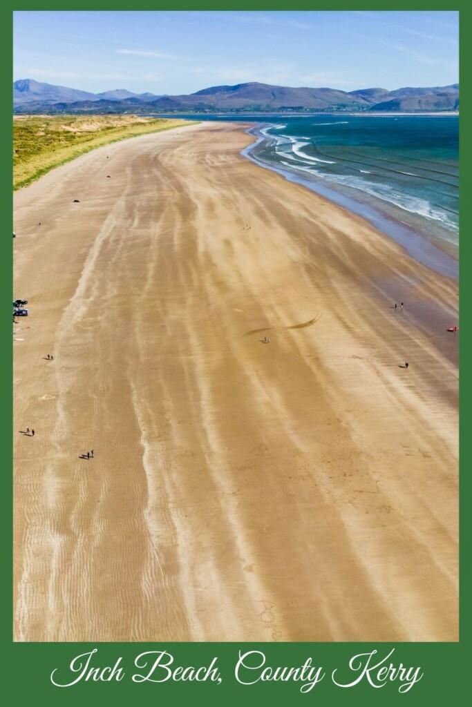 Long sandy beach with text overlay