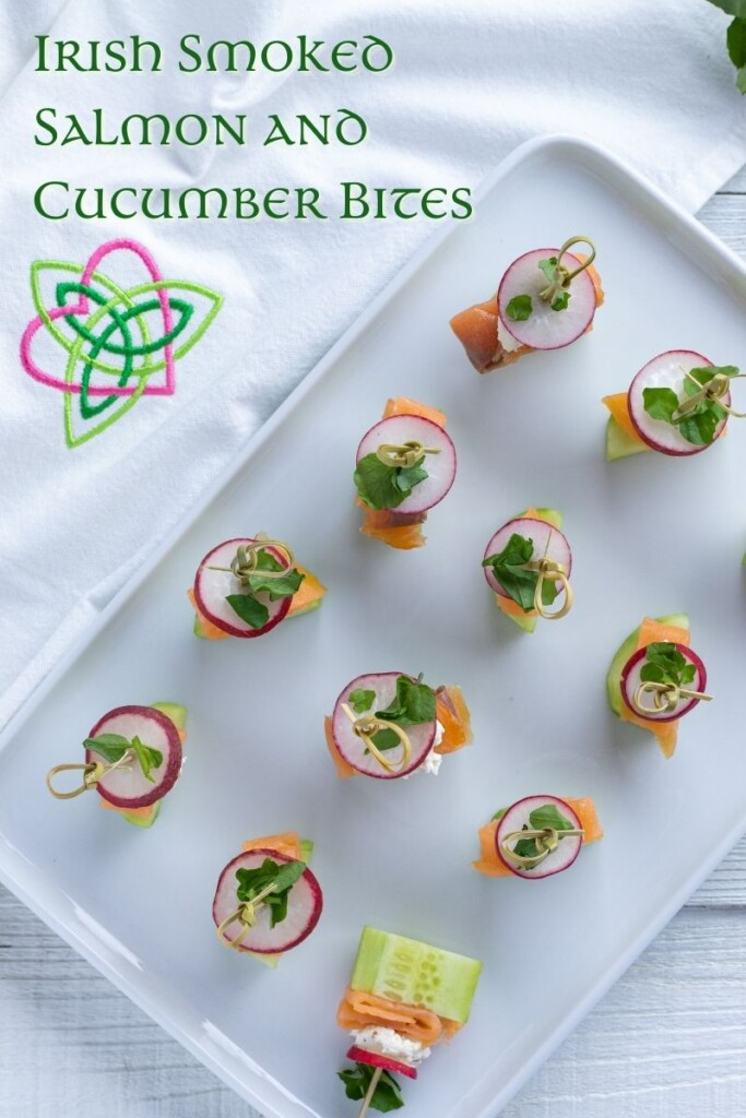 Appetizers held with cocktail sticks on a tray with Celtic script text overlay