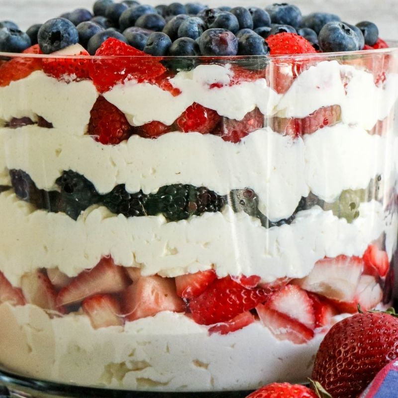 Close up of the layers in a red white and blue trifle