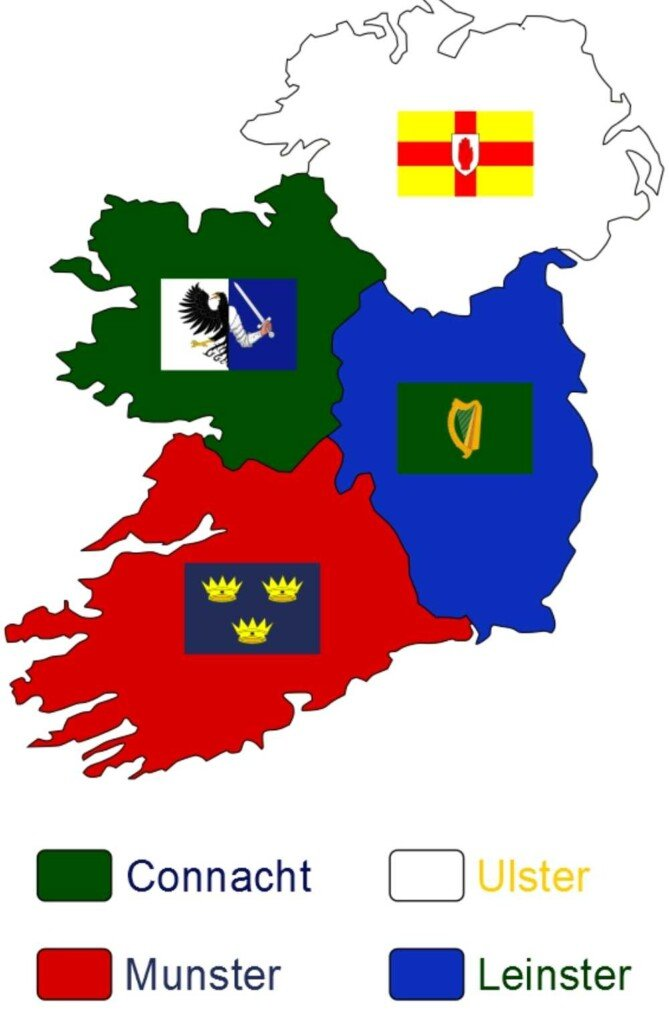 Map of Ireland with provincial divides and symbols
