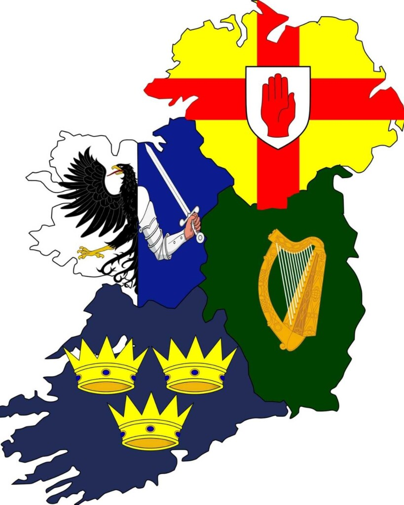 Map of Ireland with symbols of crowns, harp, red hand, half eagle and sword in hand