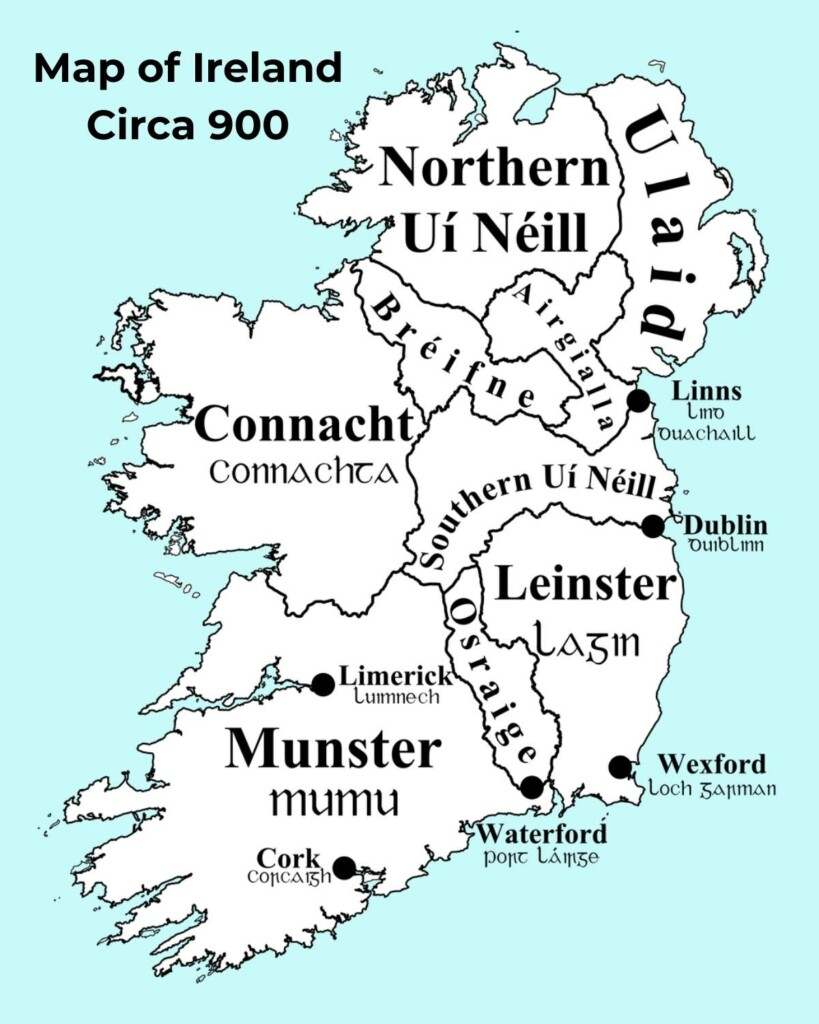 Map of Ireland with linear divisions and text overlay