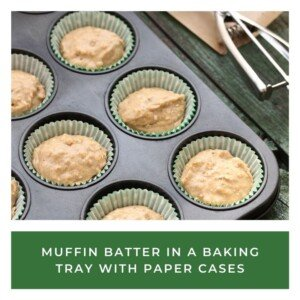 Muffin tray filled with batter over a text banner