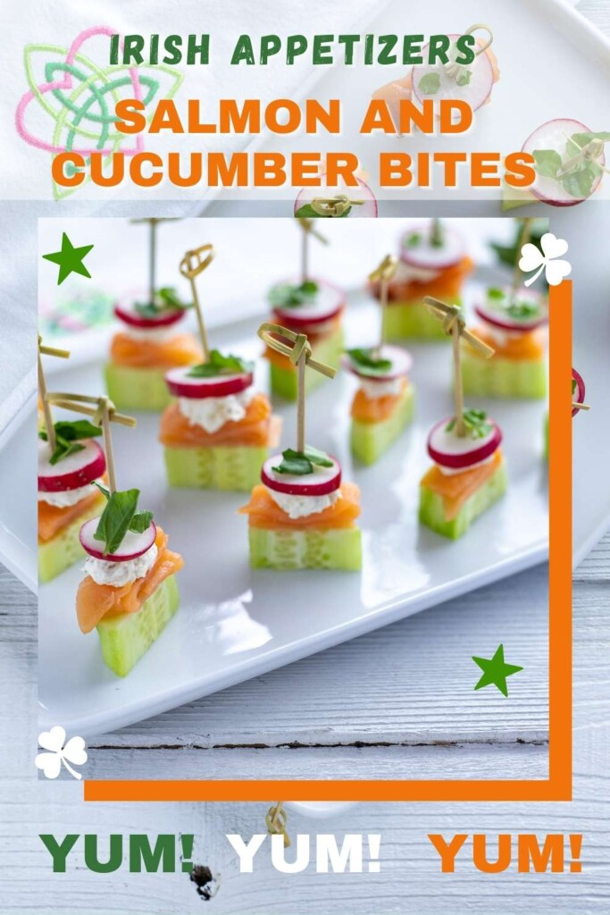 Graphic featuring text and salmon and cucumber appetizer bites with cocktail sticks