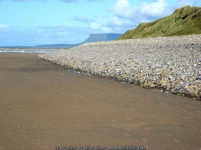 Sandy and rocky shoreline with a mountain in the distance