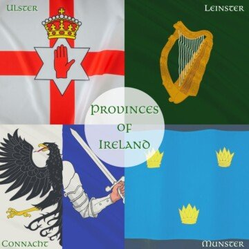 Graphic with four flags and symbols of Ireland with text overlay