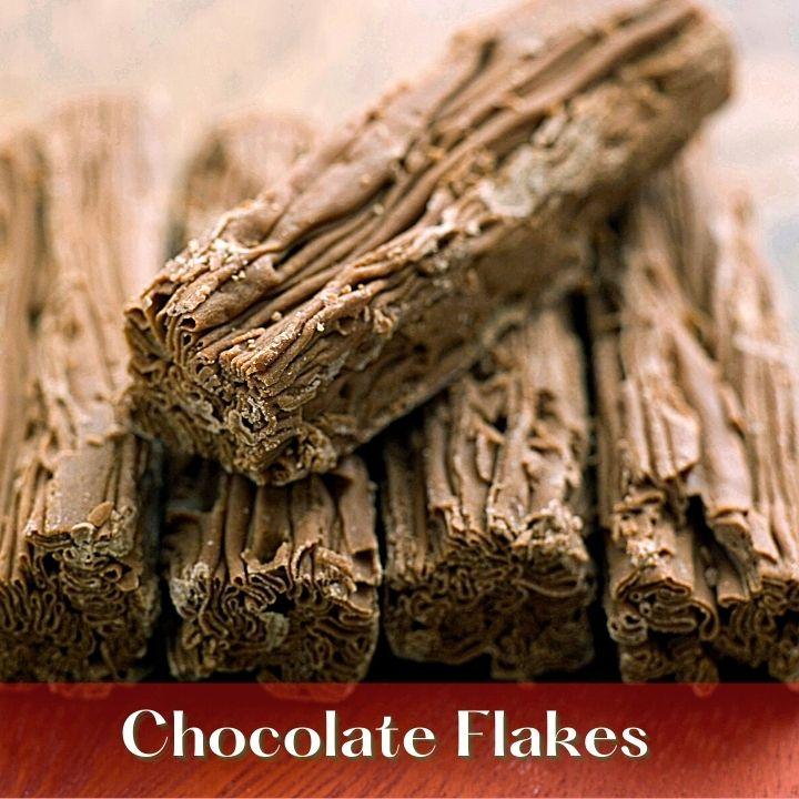 Flaky chocolate sticks