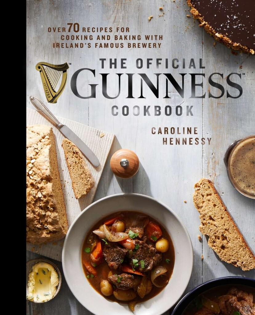 Guinness cookbook cover with stew and bread and text overlay