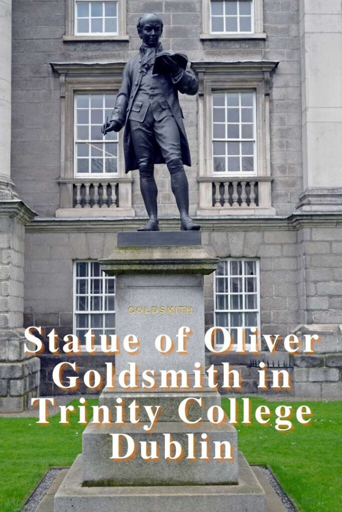 Statue of a man in front of a building with text overlay